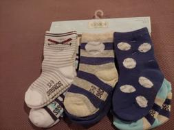 Robeez socks. 6 pairs. Infant Baby Boy 6-12 months NWT Blues
