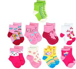 Liwely 5 Pairs Baby Girls Socks for 6-15 Months Infants, Mix