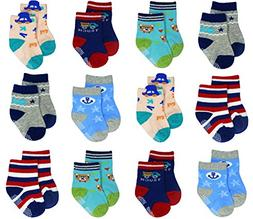Liwely 12 Pairs Baby Boys Socks, Anti Slip Skid Socks with G