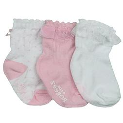 Robeez Pink and White Baby Girls Socks with Ruffles and Bows