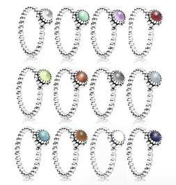 Sterling Silver Ring Birthday Blooms Stackable Ring With CZ