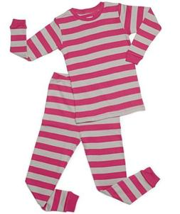 "Leveret ""Baby Girl"" Striped 2 Piece Pajama Set 100% Cotton"