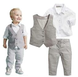 stylesilove Infant Baby Kid Boy Formal Wear Shirt, Vest and