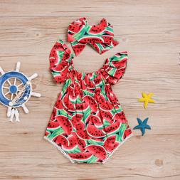 Summer Infant Baby Girls Red Watermelon Romper Bodysuit Jump