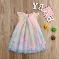 Sweet Unicorn Kids Baby Girls Party Pageant Tulle Tutu Dress