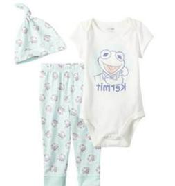 DISNEY THE MUPPETS KERMIT 3 PIECE BABY OUTFIT SIZE NB 3 6 9