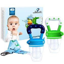 Tinabless Baby Food Feeder Teether Nibbler 2Pcs with Clip fo