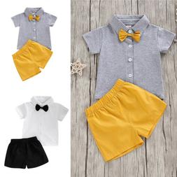 Toddler Baby Boy 2PCS Clothes Short Sleeve Bow Top And Short