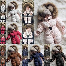 Toddler Baby Boy Girls Winter Romper Jacket Hooded Jumpsuit