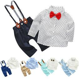 Toddler Baby Boys Suspenders Gentlemen Formal Suits for Birt