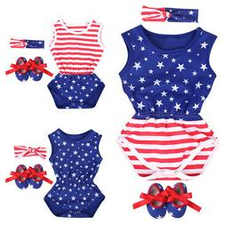 Toddler Baby Girl 4th of July Romper Shoes Headband Outfits