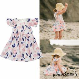 Emmababy Toddler Baby Girl Sun Dress Pink Blue Floral Ruffle