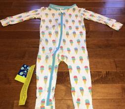 Kickee Pants Toddler Girl Natural Ice Cream Coverall w Zippe