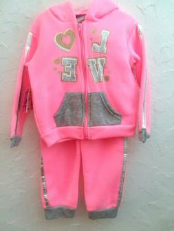 """DIVA -Toddler Girl Size """"12, 24"""" Months Pink 2Pc HOODIE & PA"""