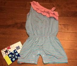 KicKee Pants Toddler Girl Strawberry Stripe Ruffle Romper 12