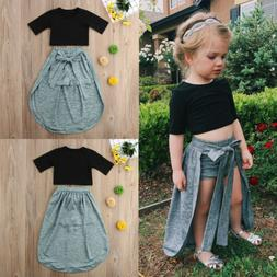 Toddler Kids Baby Girl Exposed Navel Tops Shorts Pants Dress