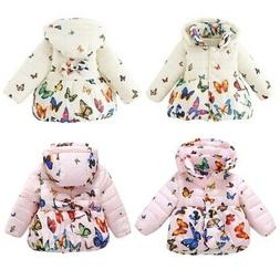 Toddler Kids Girls Baby Winter Warm Cotton Jacket Butterfly