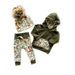 US 2Pcs Newborn Kids Baby Girl Boy Fox Hooded Tops Pants Aut