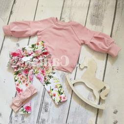 US 3Pcs Newborn Baby Girls Winter Clothes Ruffle Tops Floral