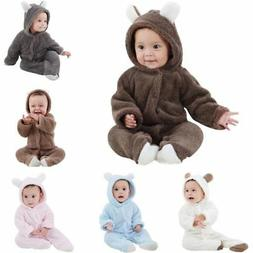 US BABY Bear Winter Newborn Kids Warm Coral Fleece Romper Ho