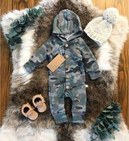 US Baby Boy Girl Camouflage Romper Jumpsuit Bodysuit Playsui