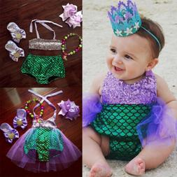 US Baby Girls Kids Mermaid Bikini Swimwear Swimsuit Bathing