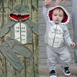 US Cotton Kids Baby Boy Hoodie Clothes T-shirt Tops Pants Ou