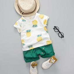 US Cute Infant Toddler Baby Boy Summer T-shirt+Shorts Outfit