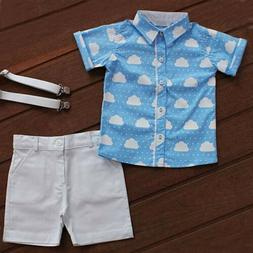 US Cute Infant Toddler Kids Baby Boy Summer T-shirt Tops+Sho