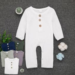 US Cute Newborn Baby Kids Unisex Cotton Romper Jumpsuit Clot