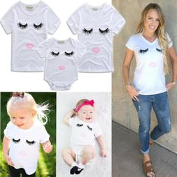 US Family Clothes Matching Dad Mom Kids T Shirts Blouse Cott