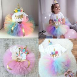 US First Birthday Unicorn Dress Outfits Romper Skirt 3PCS Cl