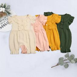 US Infant Baby Girls Cotton Linen Clothes Romper Bodysuit Ju