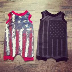 US Kids Baby Boy Girl American Flag Romper Sleeveless Bodysu