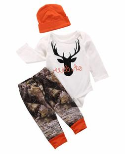 US Newborn Baby Boy Girl Deer Romper Wildlife Pants Hat 3pcs