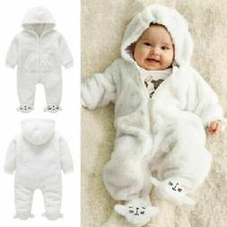US Newborn Baby Boy Girl Winter Romper Jumpsuit Warm Fur Out