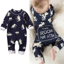 US Newborn Baby Girl Boy Deer Romper Jumpsuit Pajamas Sleepw