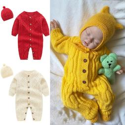 US Newborn Baby Girl Boy Knitted Long Sleeve Romper Jumpsuit