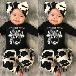US Newborn Baby Girl Boy Winter Clothes Cow T-Shirt Tassels