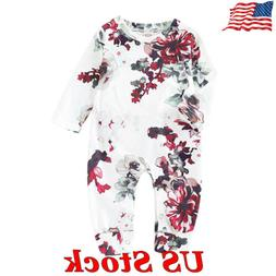 US Newborn Baby Girl Floral Romper Bodysuit Jumpsuit Winter