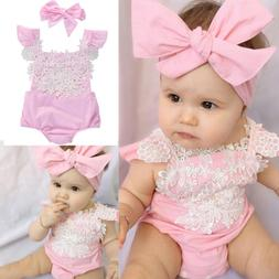 US Newborn Baby Girl Romper Lace Floral Jumpsuit Headband Ou