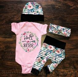 us newborn infant baby girl floral outfit