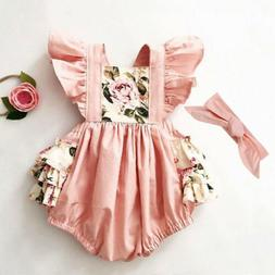 US Newborn Kids Baby Girl Floral Romper Jumpsuit Bodysuit Cl