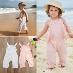 US Newborn Kids Baby Girl Romper Ruffle Backless Jumpsuit Bo