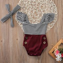 US Newborn Toddler Baby Girl Clothes Romper Bodysuit+Headban