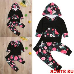 US Newborn Toddler Baby Girl Winter Outfits Floral Clothes H