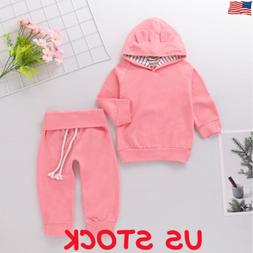 US Newborn Toddler Baby Girl Winter Outfits Plain Clothes Ho