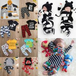 US Seller Newborn Baby Boy Romper T-shirt Top+Long Pants Out