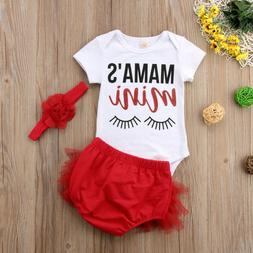 US STOCK 3pcs Newborn Infant Baby Girl Outfits Clothes Rompe