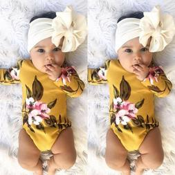 US Stock Infant Baby Girl Flower Print Romper Bodysuit Jumps